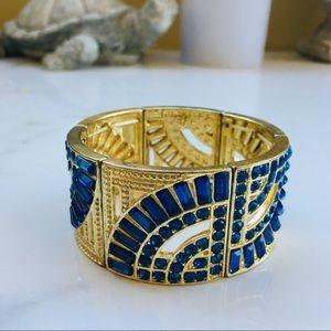 Jewelry - Vintage gold blue cuff bracelet art deco